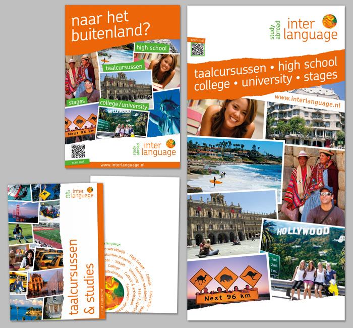 Linksboven: A3 poster, Linksonder: map, Rechts: banier